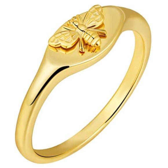 14K Gold Signet Rings for Women Bee Handmade Rings